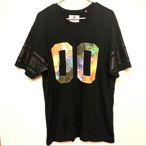 On the Byas black galaxy & leather accent Tshirt